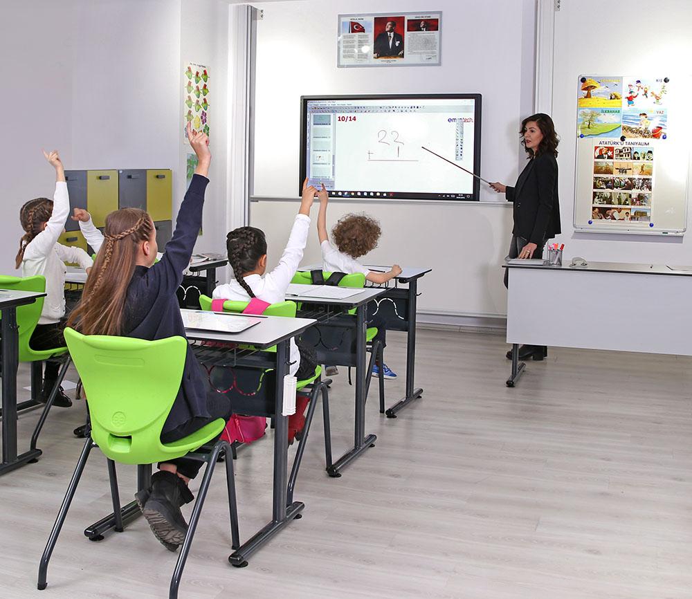 Teacher teaching with Emkotech GO!